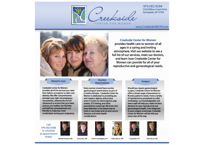 Creekside Center for Women Ads