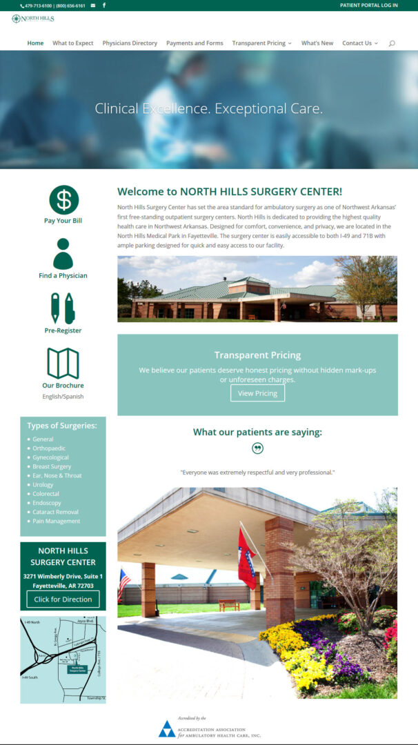 North Hills Surgery Center Website Developer