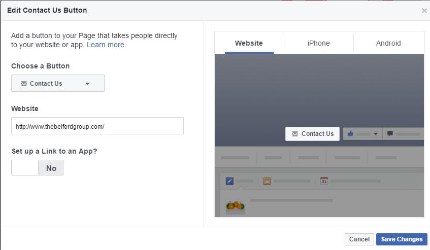 FaceBook Edit Contact us Button